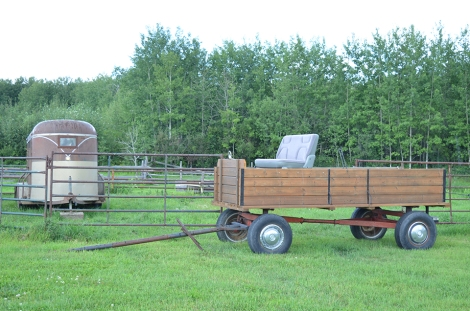 Locally crafted wagon using various materials and repurposed objects