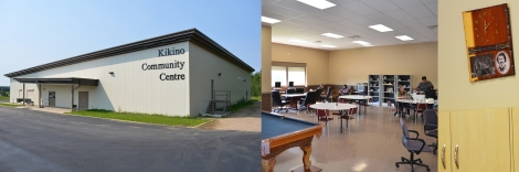 Kikino Community Centre (exterior, interior, and clock with image of Louis Riel)