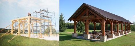 Construction (left) and completed (right) images of shelter at Lac La Biche golf course designed and constructed by Jack Lynis