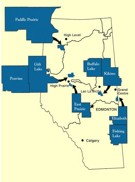 Location of Métis Settlements in Alberta