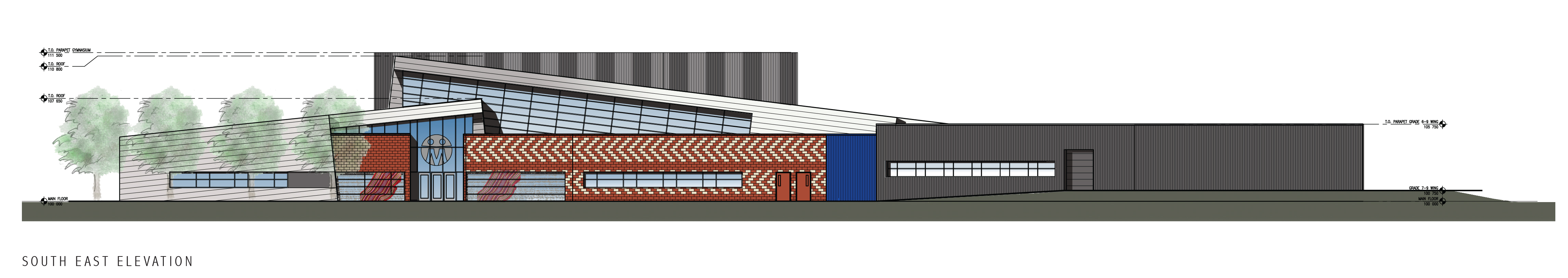 Front Entry Elevation To Gift Lake Replacement School Used With Permission By Group2 Architecture And