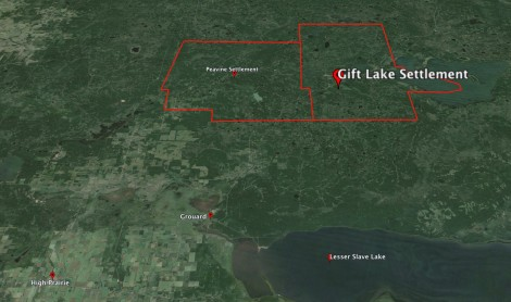 Map of Gift Lake Settlement