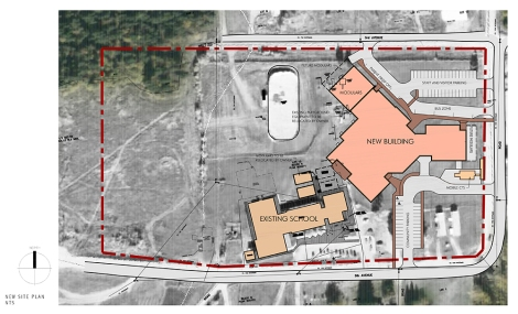 Site plan of Gift Lake Replacement School. Image used with permission by Group2 Architecture and Interior Design