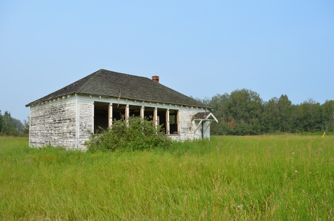 Early one-room school at East Prairie Settlement