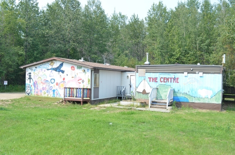 """The Centre"" with art applied to exterior to celebrate local cultural expression"