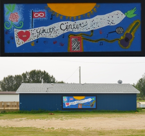 Gift Lake Youth Centre and mural (above)