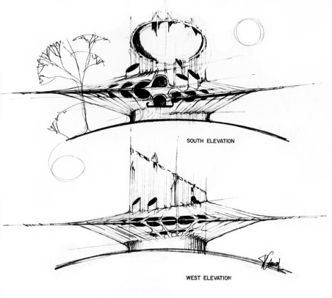 Cardinal elevations for Edmonton Science Centre (1984). Image from www.djcarchitect.com