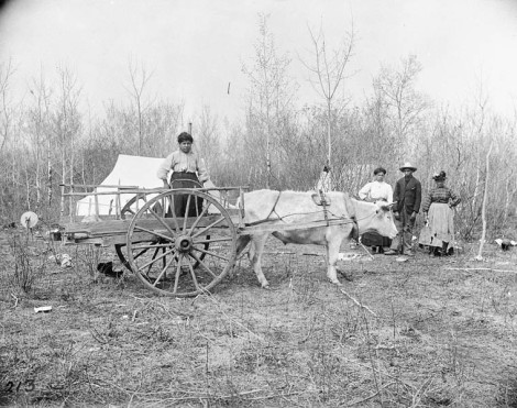 A Métis family at their camp with a Red River Cart in Manitoba . (Image: Library and Archives Canada / c001644)