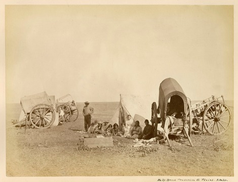 Camp scene of Métis people with carts on the prairie, 1872-1873. (Image: Library and Archives Canada / C-081787)