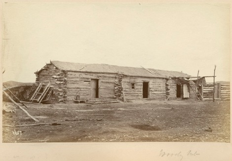 Image of a log constructed row house from Wood Mountain. (Image: Library and Archives Canada / C-081781)