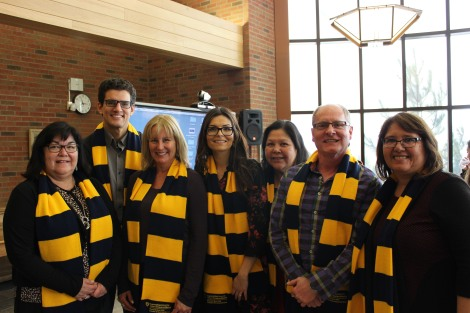 David with Laurentian Colleagues during Research Week day focused on Indigenous topics. (L to R: Sheila Cote-Meek, David, Michelle Coupal, Celeste Pedri-Spade, Susan Manitowabi, Daniel Cote, and Taima Moeke-Pickering)