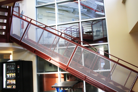 Interior stair at the Nunavut Trades Training Centre. (Photo courtesy of H. Burdett-Moulton)