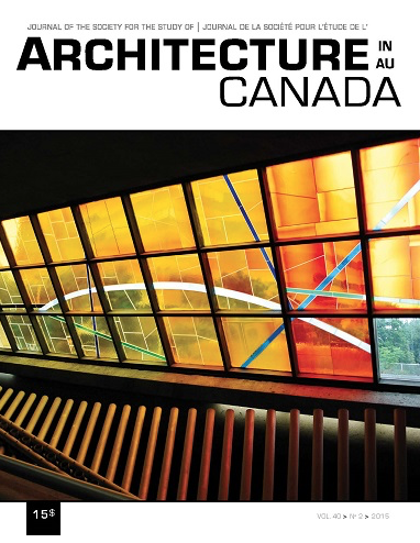 Cover of the Journal of the Society for the Study of Architecture in Canada featuring essay by David Fortin on the Alberta Settlements