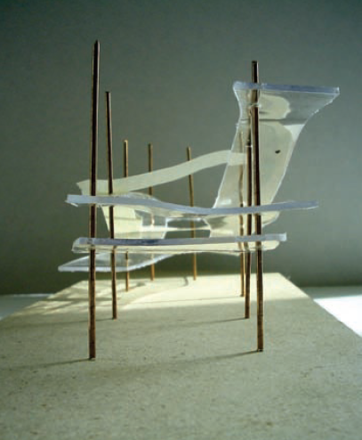 Model of ramp. Clarke, C. C. & Hickey, M. P. 2006. Cultural paths: A critical stance on contemporary Aboriginal architecture applied to the Northwest Territory Métis Nation Legislative Assembly. Masters thesis: University of Calgary.